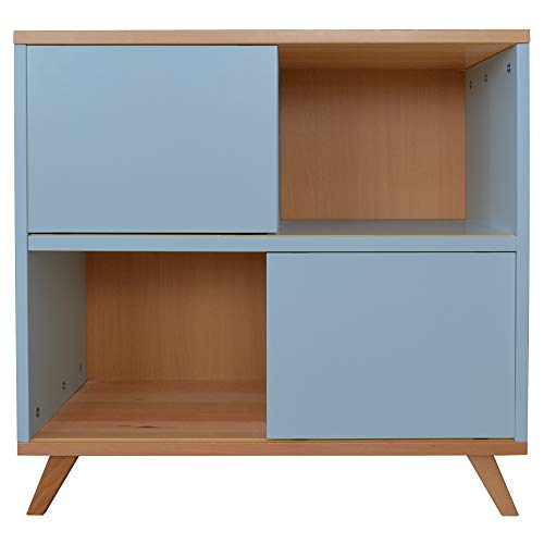 Mobi Furniture commode sideboard kinderkamer kast highboard rek staand rek beuken blauw