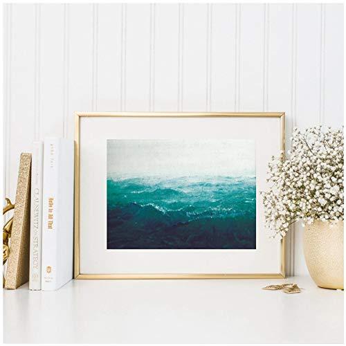 Moderno mar profundo turquesa paisaje impresión en lienzo arte ecléctico cartel decoración paisaje marino pintura al óleo cuadro de pared sala de estar decoración para el hogar-50x70cm1pcs Sin marco
