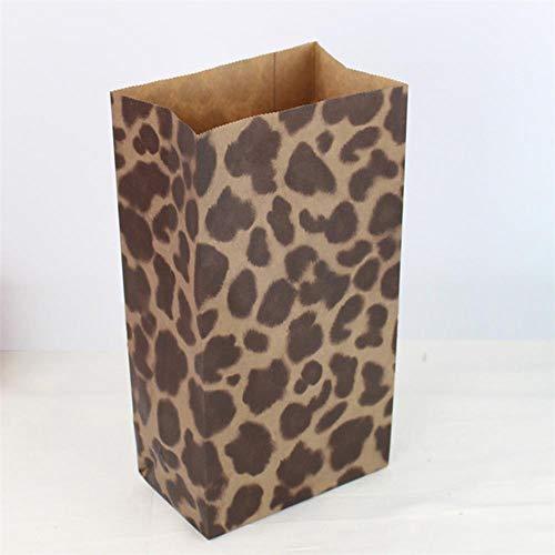 TOSISZ 10 Stück/Los Kraftpapiertüte Party Hochzeitsbevorzugungen Handgemachte Brotkekse Geschenktüten Kekse Verpackung Verpackungsmaterial, Leopard, 23 cm x 12 cm x 7,5 cm