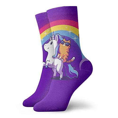 BJAMAJ Calcetines Unisex con diseño de Unicornio y arcoíris, interesantes Calcetines de...