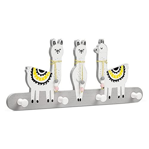 Navaris Perchero de pared infantil - Colgador de madera con 4x gancho para colgar abrigos chaquetas - Percha con diseño de alpacas para niños niñas