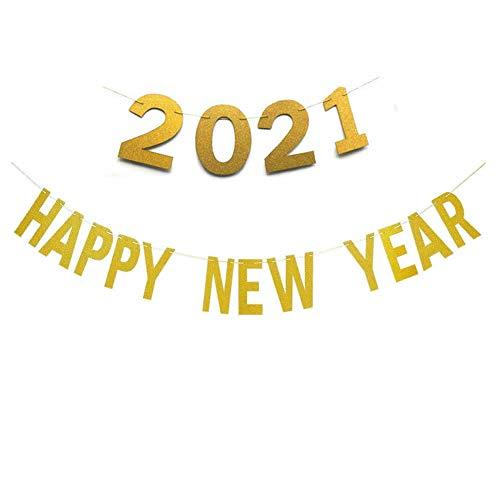 Dusenly Banner dorado brillante de feliz año nuevo 2021 guirnalda de bandera de fiesta de Nochevieja para decoraciones de año nuevo 2021