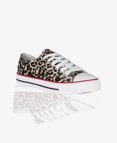 KRISP Zapatillas Mujer Tipo Estilo Imitación Casuales Lona Cordones Baja Alta Puntera Goma, (Leopardo (2345), 37 EU (4 UK)), 2345-LEO-4