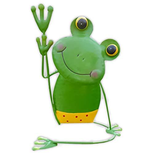 SHACAMO Lustige Yoga-Frösche aus Metall, 34-40 cm (Frosch mit gelber Hose)