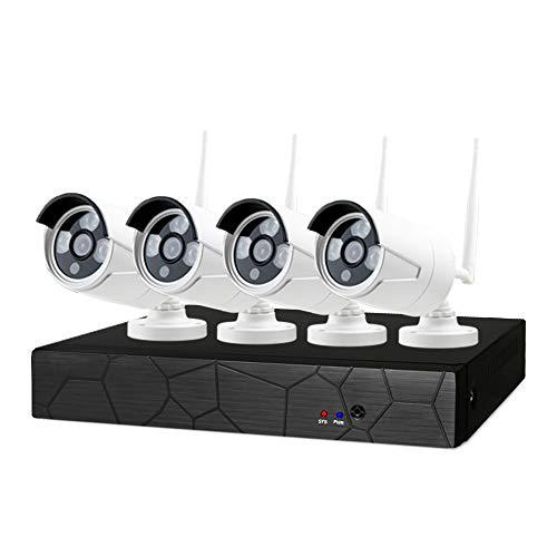 Huante - Sistema de cámara de seguridad inalámbrico 1080P 8CH NVR 4 piezas 2MP 1080P visión nocturna WiFi cámara IP estanca alerta de movimiento enchufe europeo