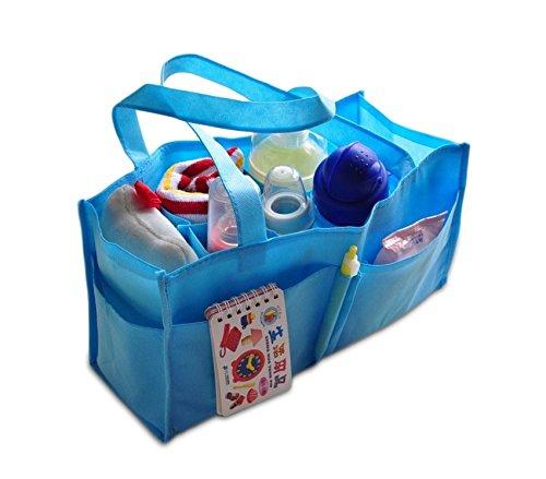 MEDIA WAVE store Organizzatore per borsa neonato mummy bag da viaggio campeggio 14 scomparti. (Celeste)
