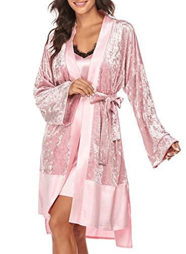 FOBEXISS Damen Morgenmantel 2 Stück Seide Satin Kurz Kimono Robe Pyjama Kleid Sexy Spitze Dessous Set Bademantel Nachthemd Nachtwäsche Gr. S, rose
