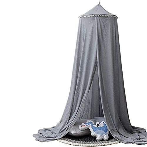 STKASE Princess Bed Canopy Mosquito Net for Kids Baby Crib, Round Dome Kids Indoor Outdoor Castle Play Tent Hanging House Decoration Reading Nook Chiffon Canvas,Gray