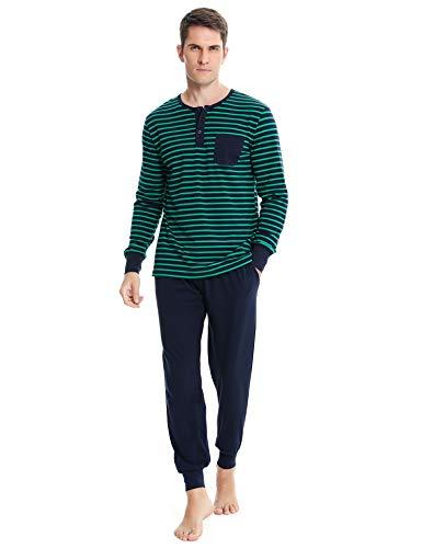 Irevial Pijamas Hombre Invierno Ropa de Dormir de 100%  Algodon de Manga Larga,cómodo Mangas Larga Raya Camiseta y Pantalones Largos 2 Piezas