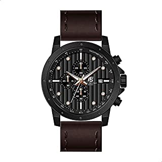 T5 H3489G-E Leather Round Analog Watch for Men - Brown