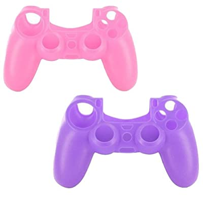lilyy® 2 Pack Silicone Case Skin Protector Cover for Playstation 4 PS4 Wireless Game Controller(Pink,Purple)