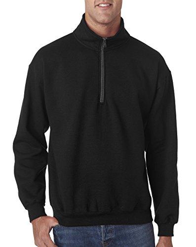 Gildan Men's Fleece Quarter-Zip Cadet Collar Sweatshirt, Style G18800, Black, Large