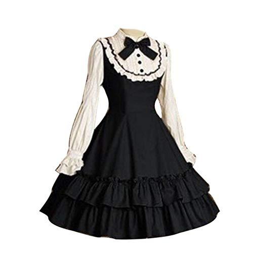 LASISZ Edad Media Lolita Mujeres Bowtie Vestido de Fiesta en Capas de Manga LargaDisfraz para Fiesta de Halloween