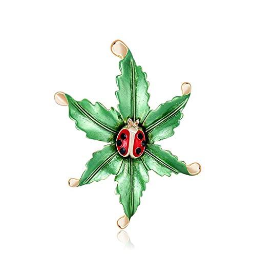 Broche, Personalidad de la moda Ladybug Oil Drop Broche Wild Leaf Lady Ramillete de solapa Bufanda Ropa Ramillete Mujeres Damas Cumpleaños Boda Fiesta de baile Accesorio Joyas San Valentín Decorativo