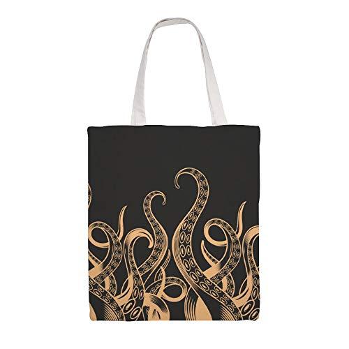 Sac de transport en toile avec ventacles de poulpe jaunes double face avec ventouses pour femmes pour le rangement en vrac sacs réutilisables sacs de courses lavables pour l'extérieur 15 x 16,1 pouces