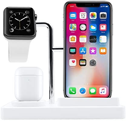 Macally Airpod iPhone Apple Watch Charging Station A Home for Your Devices Compatible with All product image