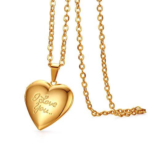 JewelryWe Schmuck Edelstahl Foto Medaillon zum Öffnen Photo Bilder Amulett Gold Love You Herzanhänger Halskette Kette mit Anhänger für Damen Mädchen - Kostenlose Gravur