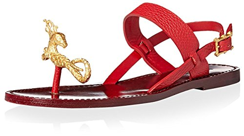 Valentino Women's Flat Sandal with Serpent, Red, 37 M EU/7 M US