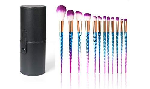 Safetysale Make-up-kwastenset, professionele eenhoorn-make-up-kwastenset, make-upkwast, foundation, rouge, contour, oogschaduw, blendingkwast met make-up-doos, make-up-tas in 4 kleuren zwart