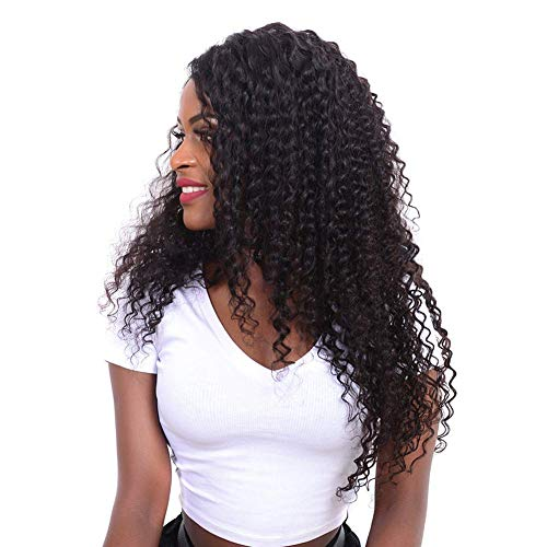 Volvetwig Echte Haare Peruecke Brazilian Hair Wig Kinky Curly Hair Wig Unprocessed Lace Front Perücke Bleached Knots Lace Wig mit Baby Hair Naturschwarz 16 zoll
