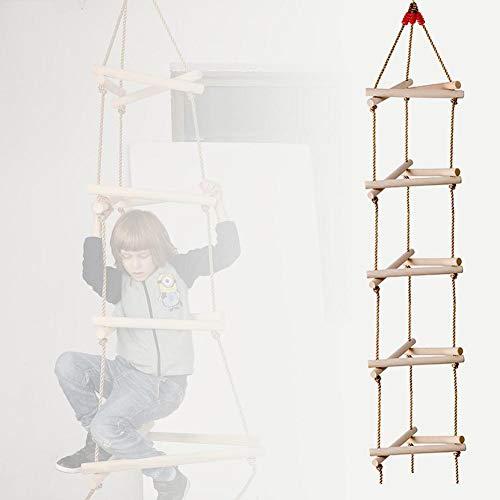 vogueyouth Kletterseil Leiter Schaukel, 2,5 m / 98 in 3D 5 Schritte Dreieck Holz Kletterleiter Garten Spielzeug für Kinder Outdoor-Sportanlagen
