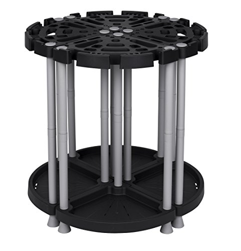 Variabler XL Gartengerätehalter aus robustem Kunststoff in Schwarz/Grau. Teilbar als Eck- oder Wandlösung. Für viele Geräte, wie Besen, Spaten, Rechen, u.v.m. Maße: Ø 73 x 77,5 cm