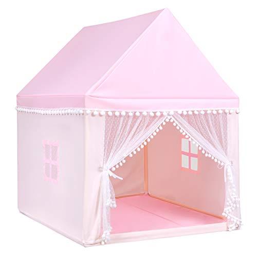 GIANTEX Kinder-Spielzelt Kinderspielhaus Massivholzrahmen, Kinderzelt Spielzelt mit Boden & Baumwolldecke, Prinzessin Schloss Zelt Oxford Stoff, Spielhaus für mehrere Kinder 120x105x140cm (Rosa)