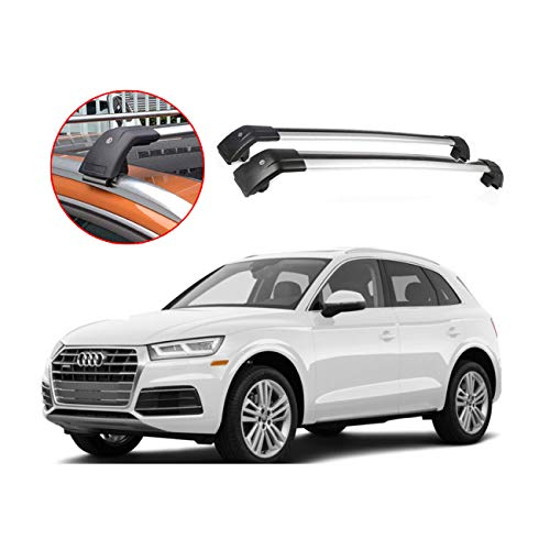 ROKIOTOEX Multi-Fit Roof Rack Crossbar Flush Rails Cross Bars Rooftop Ski Bike Rack Side Rail Luggage Carrier Cargo Box Aluminum Lockable 1 Pair- Silver (SGCB9795)
