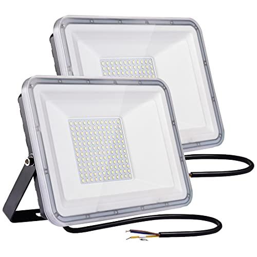 100W LED Foco exterior 2PCS 8000LM 6500K Impermeable IP67 Proyector Foco LED Luces de Seguridad Led Foco Exterio para Patio, Camino, Jardín, fábrica