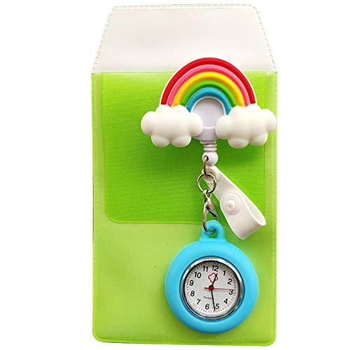 Cxypeng Taschenuhr Krankenschwestern Uhr,Medizinische Silikon-Quarz-Taschenuhr mit Fallschutz, Krankenschwestertisch zum Senden des Federmäppchen-KD013,Krankenschwesteruhr/Pulsuhr