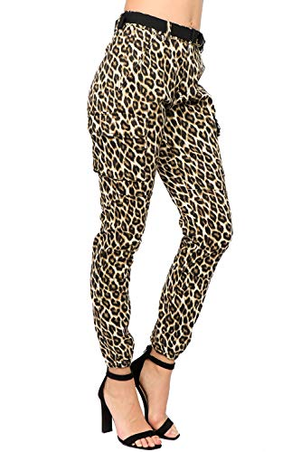 TwiinSisters Women's High Rise Slim Fit Color Leopard Print Cargo Jogger Pants with Multi Pockets - Size Small to 3X