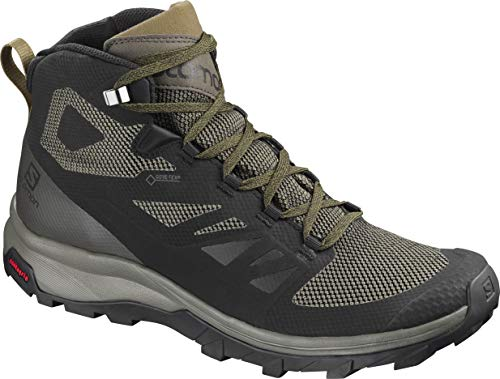 SALOMON Mens Outline Mid GTX Track and Field Shoe, Black/Beluga/Capers