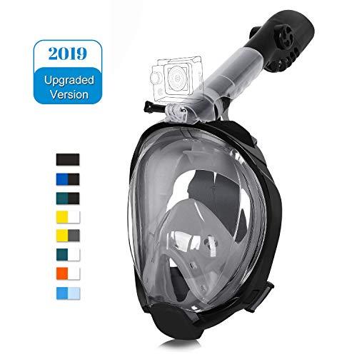 Unigear Tauchmaske Schnorchelmaske S1, Seitliche Schnellsprungschnalle abzutragen, Vollgesichtsmaske Erwachsene, mit Kamerahalterung, Anti Fog/Leak, MEHRWEG