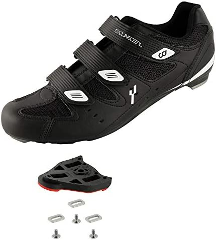 CyclingDeal Bicycle Road Bike Universal Cleat Mount Men s Cycling Shoes Black with 9 Degree product image