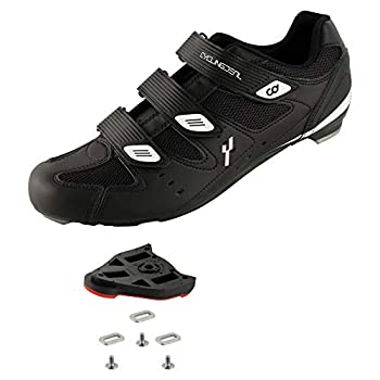 CyclingDeal Bicycle Road Bike Universal Cleat Mount Men s Cycling Shoes Black with 9-Degree Floating Look ARC Delta Compatible Cleats Compatible with Peloton Indoor Bikes Pedals Size 44