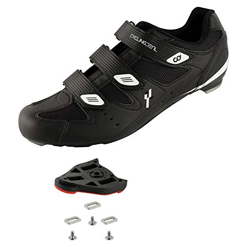 CyclingDeal Bicycle Road Bike Universal Cleat Mount Men's Cycling Shoes Black with 9-Degree Floating Look ARC Delta Compatible Cleats Compatible with Peloton Indoor Bikes Pedals Size 50