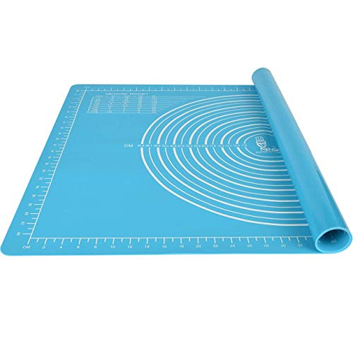 Non-slip Silicone Pastry Mat Extra Large 28''By 20'' for Non Stick Baking Mats, Table/Countertop Placemats, Dough Rolling Mat , Kneading/ Fondant/Pie Crust Mat By Super Kitchen(20×28, Blue)