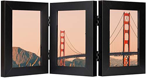 Frametory, Aufklappbarer Bilderrahmen mit Glasfront für drei Bilder, senkrecht auf dem Schreibtisch oder Tischplatte (schwarz, 10,2 x 15,2 cm)