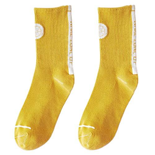 ybvyd Damen Mädchen Socken, Frauen Männer Herbst Baumwolle Lange Crew Socken Harajuku Wake Zone Up Buchstaben Solid Color Hip Hop Skateboard Gerippte Schlauchstrümpfe Strümpfe Gr. Einheitsgröße, gelb