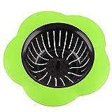 Colador de fregadero de plástico, cesta de filtro de drenaje, tapón de drenaje, colador de fregadero con forma de flor adecuado para cocina, baño(Verde)
