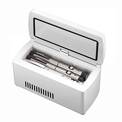WDAA Mini Refrigerador para Medicamentos y Refrigerador de Insulina para Automóvil, Viaje, Hogar - Estuche Portátil de Refrigeración para Automóvil/Caja de Viaje Pequeña para Medicamentos
