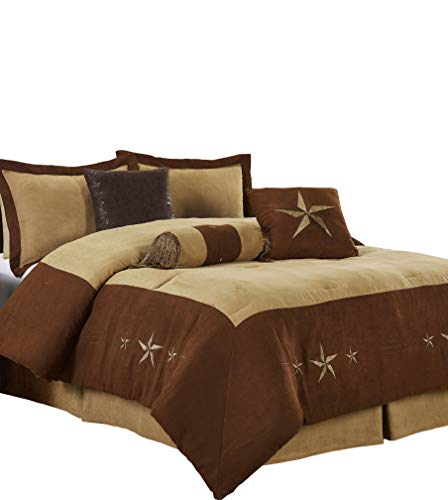 "Chezmoi Collection 7 Pieces Western Star Embroidery Design Microsuede Bedding Oversized Comforter Set (King 108"" x 96"", Brown/Coffee)"