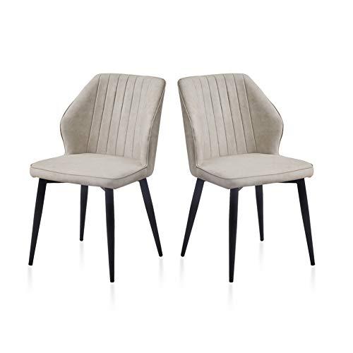 TUKAILAI Juego de 2 sillas de comedor tapizadas de piel sintética color crema con respaldo y patas de metal.
