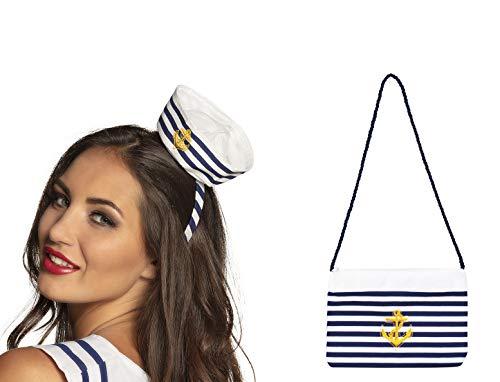 Panelize Set Mini Matrosen Matrosin Hut Kappe mit passender Handtasche blau Weiss