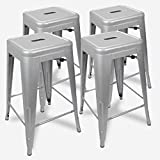 "UrbanMod 24"" Counter Height Bar Stools 330lb Capacity Gray Kitchen Chair Island Outdoor Industrial Galvanized Metal, Silver"