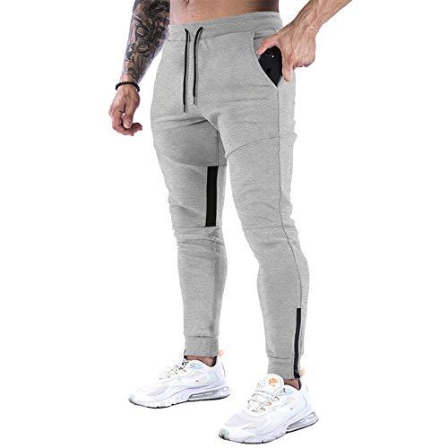 CARWORNIC Pantaloni da jogging da uomo, slim fit, pantaloni da ginnastica, sportivi, sportivi, sportivi, sportivi, con tasche con cerniera Grigio chiaro W34