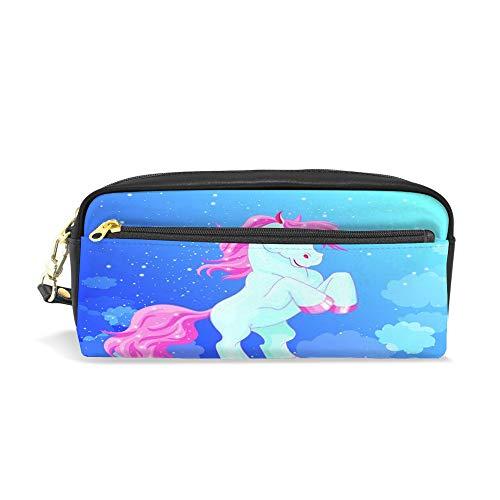 CHENHONG Trousse à crayons en cuir souple imprimé Petit cheval bleu avec cheveux roses dans les nuages Accessoires cosmétiques Sac pour femmes filles
