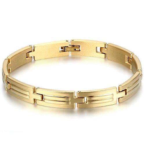 JewelryWe Orologi Meccanici Uomo, Display Oro,Pointer Oro,Bracciale Colore Oro in Acciaio...