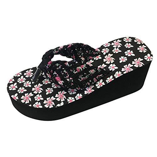 Sandales d'été Femme Floral Tongs Chaussures d'Été Sandales à Talon compensé À la Mode Pantoufles Plage Pente Chaussures à Plateforme LianMengMVP