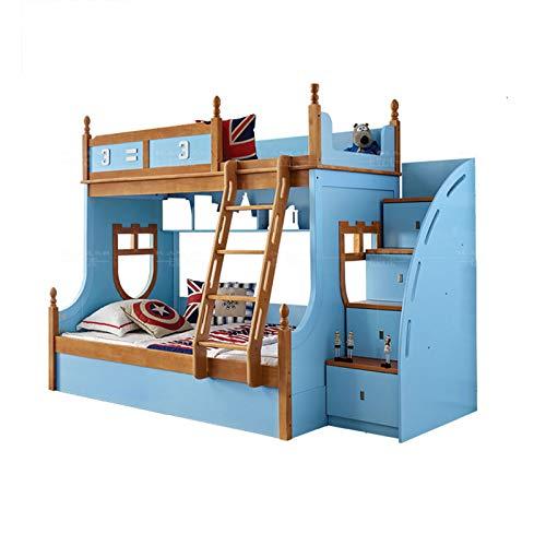JTJxop Cama De Plataforma De Madera Maciza, Litera Completa con Escaleras, Litera Doble De Madera Maciza con Escalera y Barandilla De Seguridad, para Niños Azul,150x200cm